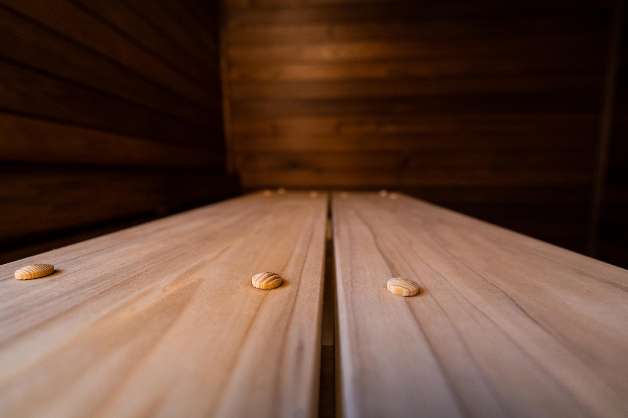 Tulipwood sauna panels and benches